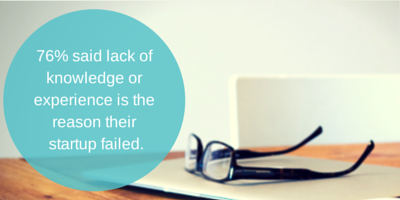 76% said lack of knowledge or experience is the reason their startup failed.